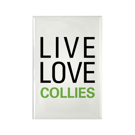 Live Love Collies Rectangle Magnet (100 pack)