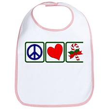 PEACE-LOVE-CANDYCANE Bib