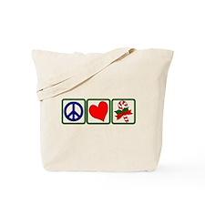 PEACE-LOVE-CANDYCANE Tote Bag