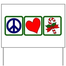 PEACE-LOVE-CANDYCANE Yard Sign