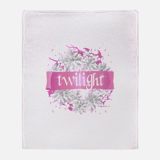 Twilight Christmas Pink by Twibaby Throw Blanket