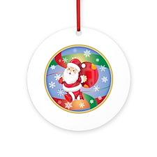 Santa w/Sack Ornament (Round)