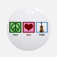 Peace Love Violin Ornament (Round)