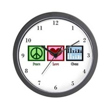 Peace Love Chess Wall Clock