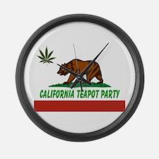 California Teapot Party Large Wall Clock