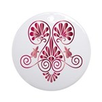 Namaste Tattoo in Ruby Red Ornament (Round)
