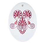 Namaste Tattoo in Ruby Red Ornament (Oval)