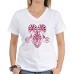 Namaste Tattoo in Ruby Red Women's V-Neck T-Shirt