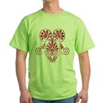 Namaste Tattoo in Ruby Red Green T-Shirt