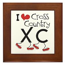 I heart Cross Country Running Framed Tile