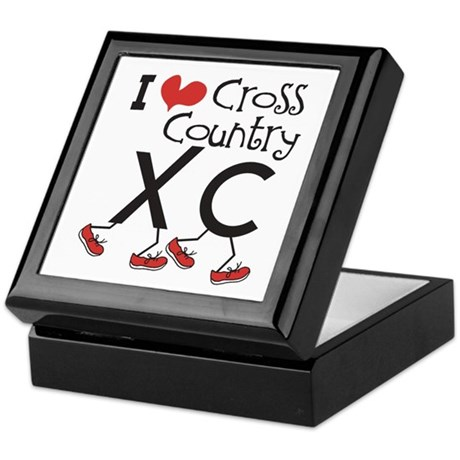 I heart Cross Country Running Keepsake Box