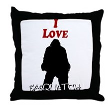 I Love Sasquatch Throw Pillow