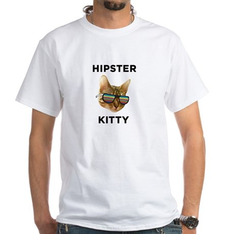 Hipster Kitty White T-Shirt