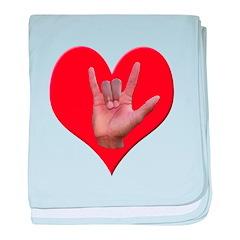 ILY Heart baby blanket