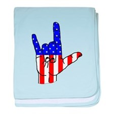 I Love USA Sign Language hand baby blanket