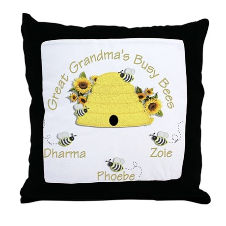 Great Grandma's Busy Bees Throw Pillow