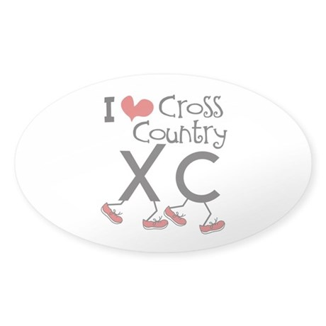 I heart Cross Country Running Sticker (Oval)