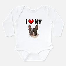 I Love My Boston Terrier Long Sleeve Infant Bodysu