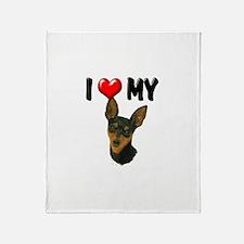 I Love My Min Pin Throw Blanket