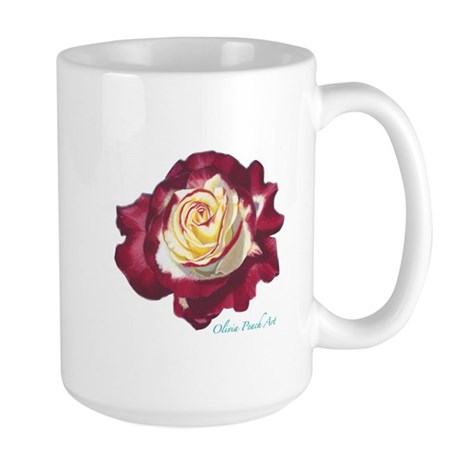 Two-Tone Red and White Rose Large Mug