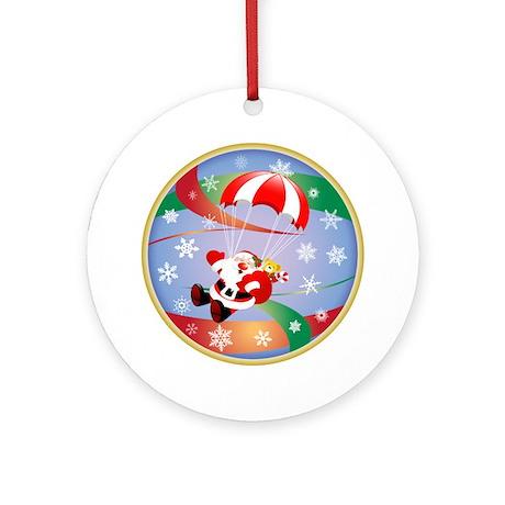 Sky Dive Santa Ornament (Round)