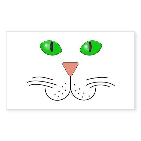 Cat Face Sticker (Rectangle 10 pk)