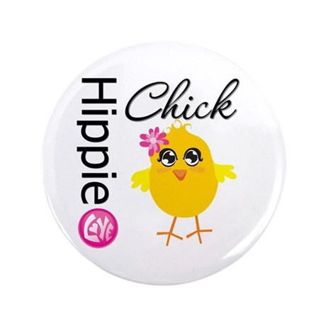 "Hippie Chick 3.5"" Button (100 pack)"