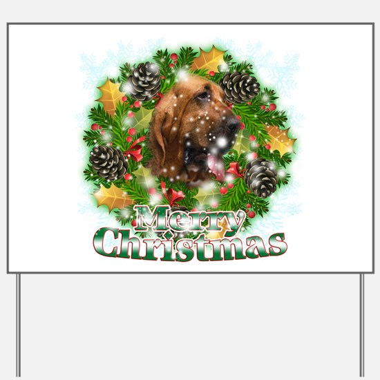 Merry Christmas Bloodhound Yard Sign