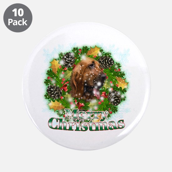 "Merry Christmas Bloodhound 3.5"" Button (10 pack)"