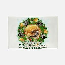 Merry Christmas Pekingese Rectangle Magnet