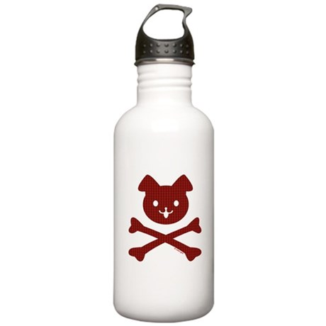 Doggy Crossbones Red P Stainless Water Bottle 1.0L