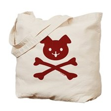 Doggy Crossbones Red Plaid Tote Bag