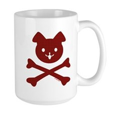 Doggy Crossbones Red Plaid Mug