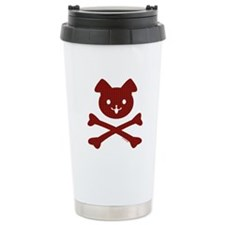 Red Plaid Doggy Crossbones Travel Mug