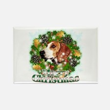 Merry Christmas Foxhound Rectangle Magnet