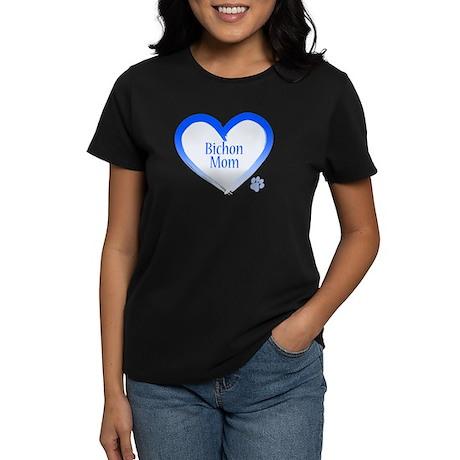 Bichon Blue Heart Women's Dark T-Shirt