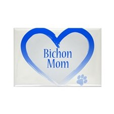 Bichon Blue Heart Rectangle Magnet