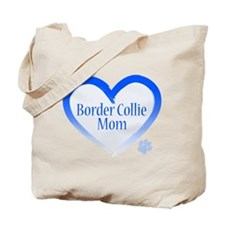 Border Collie Blue Heart Tote Bag