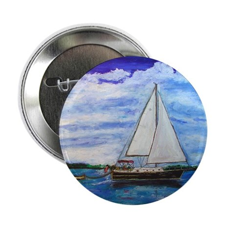 """Sailboat on Bay 2.25"""" Button (10 pack)"""