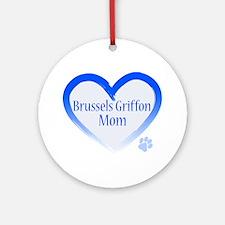 Brussels Griffon Blue Heart Ornament (Round)