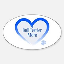 Bull Terrier Blue Heart Sticker (Oval)
