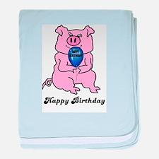 HAPPY BIRTHDAY PINK PIG baby blanket