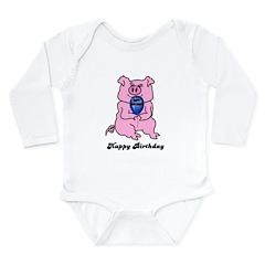 HAPPY BIRTHDAY PINK PIG Long Sleeve Infant Bodysui