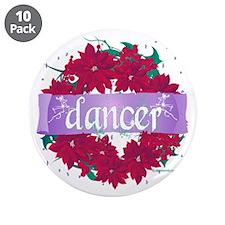 "Dancer Wreath Christmas Cards 3.5"" Button (10"