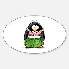 Hula Penguin Sticker (Oval)