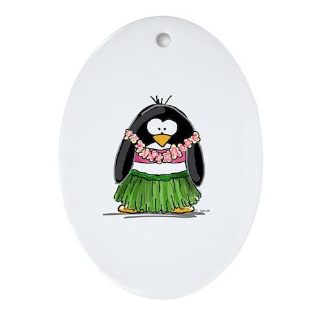 Hula Penguin Ornament (Oval)