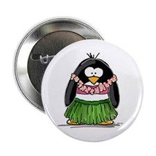 "Hula Penguin 2.25"" Button (100 pack)"