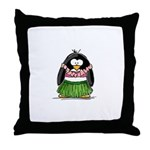 Hula Penguin Throw Pillow