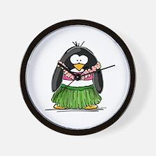 Hula Penguin Wall Clock
