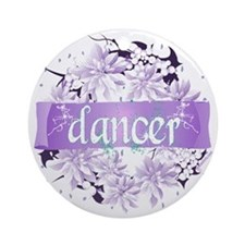 Dancer Wreath Christmas Cards Ornament (Round)